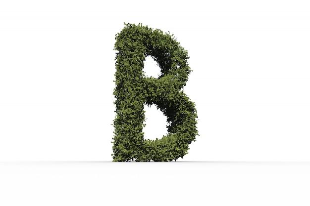 Lettre majuscule b faite de feuilles