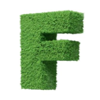 Lettre majuscule f de l'alphabet herbal grass, tournée dans le sens des aiguilles d'une montre. isolé sur l'illustration 3d blanche.