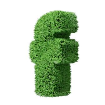 Lettre minuscule de l'alphabet herbal grass f, tournée dans le sens des aiguilles d'une montre. isolé sur l'illustration 3d blanche.