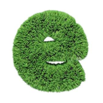 Lettre minuscule de l'alphabet d'herbe à base de plantes e. isolé sur l'illustration 3d blanche.