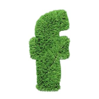 Lettre minuscule de l'alphabet d'herbe à base de plantes f. isolé sur l'illustration 3d blanche.