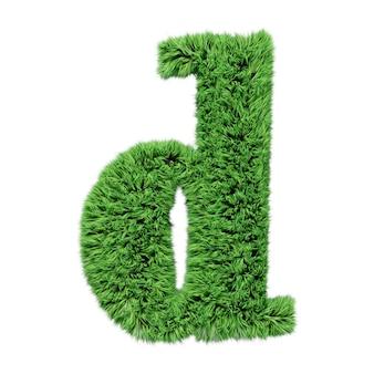 Lettre minuscule de l'alphabet d'herbe à base de plantes d. isolé sur l'illustration 3d blanche.