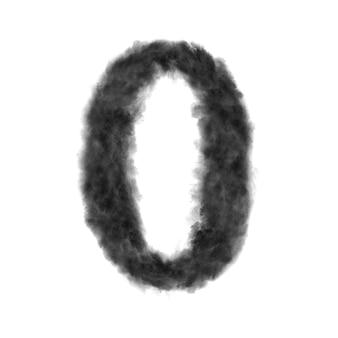 Lettre o faite de nuages noirs ou de fumée sur fond blanc avec espace de copie, pas de rendu.
