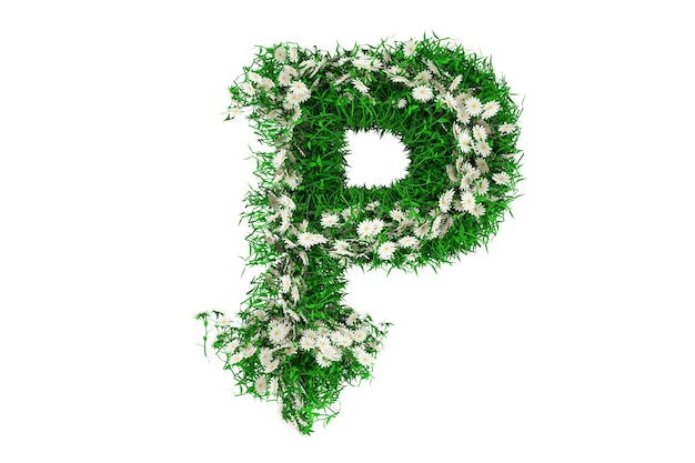 Lettre p d'herbe verte et de fleurs. rendu 3d.