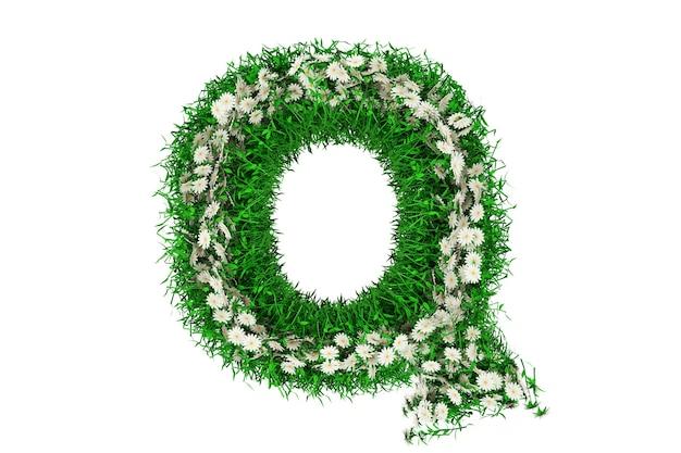 Lettre q d'herbe verte et de fleurs. rendu 3d.