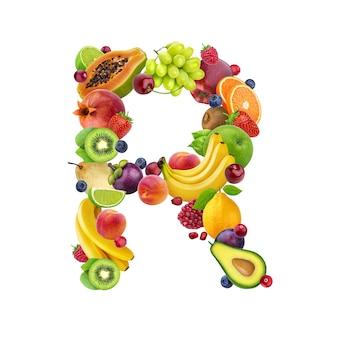 Lettre r composée de différents fruits et baies