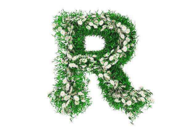 Lettre r d'herbe verte et de fleurs. rendu 3d.