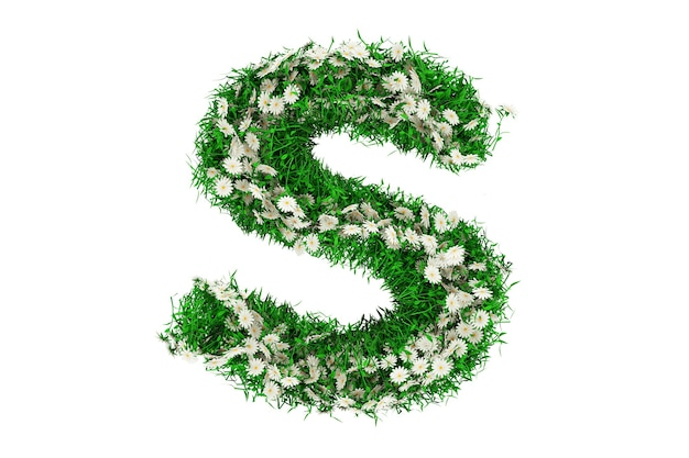 Lettre s d'herbe verte et de fleurs. rendu 3d.