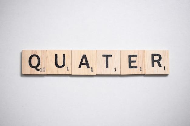 Lettre de scrabble brun en bois dans le concept d'entreprise sur fond blanc