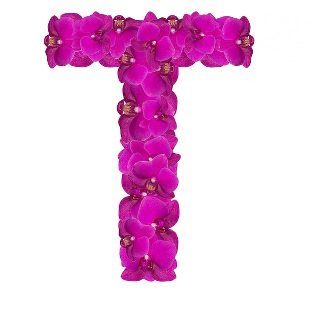 Lettre t faite de pétales de fleurs roses