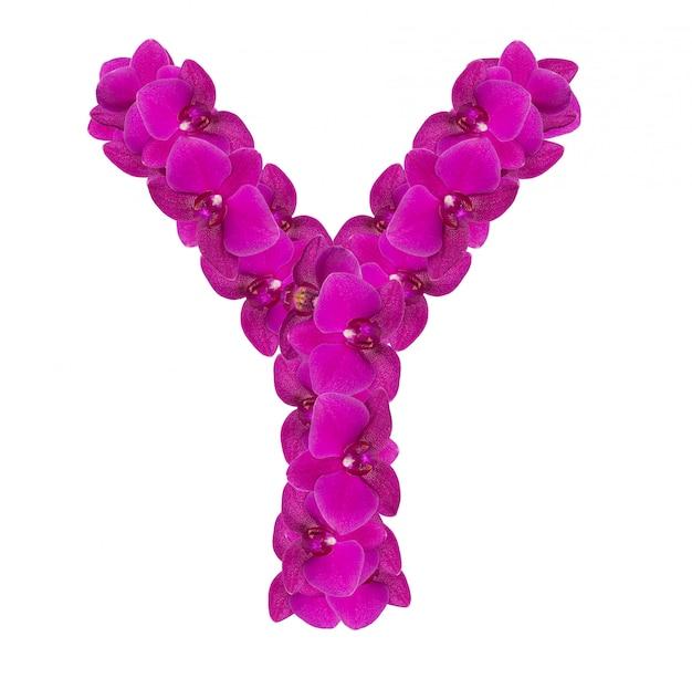 Lettre y faite de pétales de fleurs roses