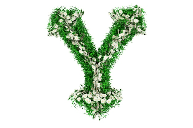 Lettre y d'herbe verte et de fleurs. illustration 3d.