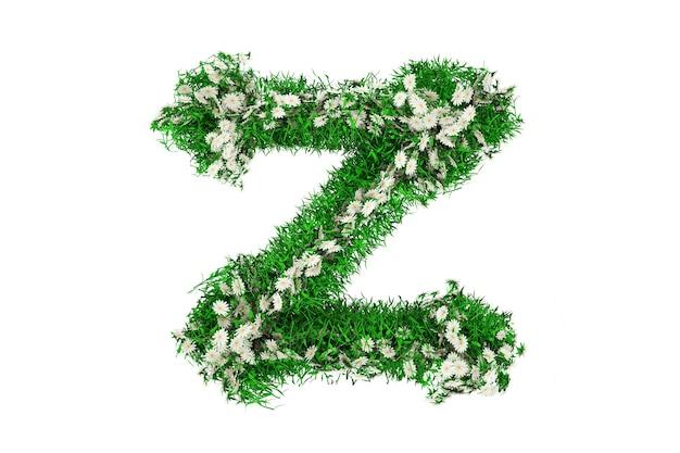 Lettre z d'herbe verte et de fleurs. illustration 3d.