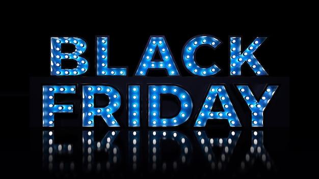 Les lettres 3d du vendredi noir avec des lumières rendent la décoration de typographie vendue sur fond sombre