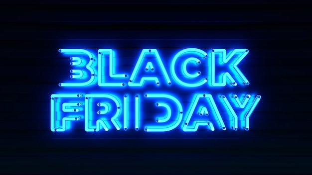 Les lettres 3d d'enseigne au néon du vendredi noir rendent le modèle de typographie de vente sur fond sombre