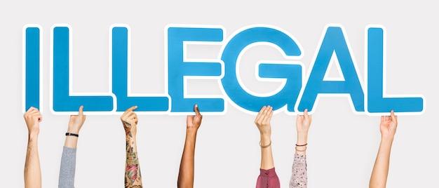 Lettres bleues formant le mot illégal