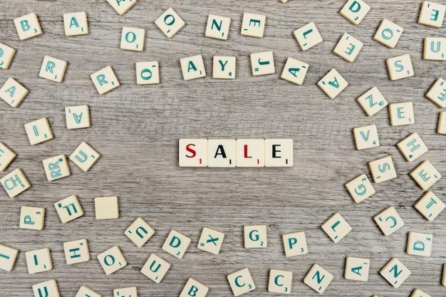 Lettres formant le mot vente