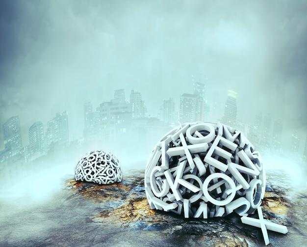 Lettres formant des sphères au sol