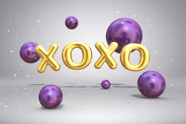 Lettres d'or métalliques brillantes xoxo et sphères de ballons volants lumineux sur fond festif avec des confettis, 3d