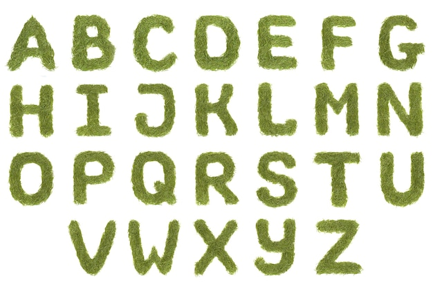 Lettres de police az alphabet vert isolés sur fond blanc. haute résolution