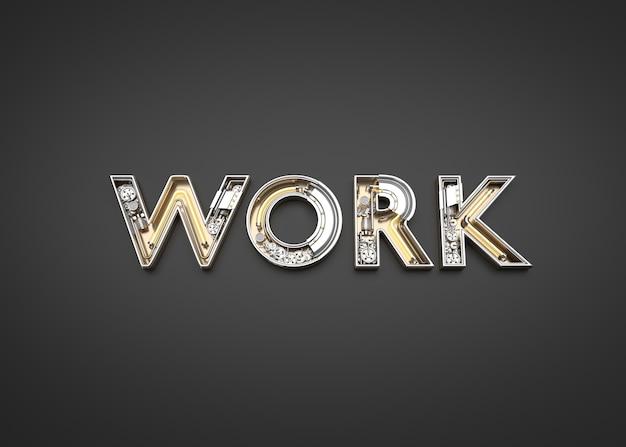 Lettres de travail faites à partir de l'alphabet mécanique. illustration 3d