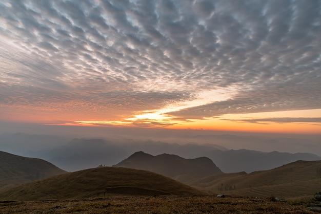 Lever du soleil dans le brouillard sur la prairie