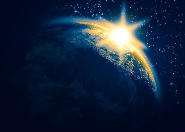 Le lever du soleil et les étoiles. illustration 3d