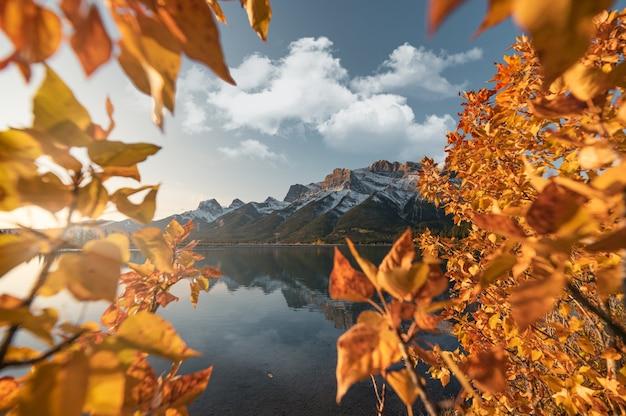 Lever du soleil sur le mont lawrence grassi avec des feuilles d'automne réflexion sur le réservoir rundle forebay à canmore