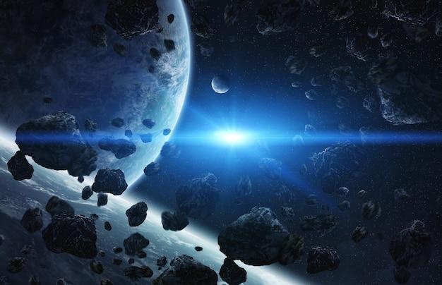 Lever de soleil sur un groupe de planètes dans l'espace