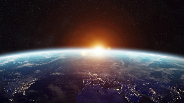 Lever de soleil sur la planète terre dans l'espace rendu 3d