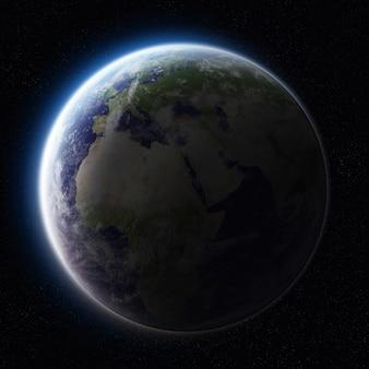 Lever de soleil sur la planète terre dans l'espace