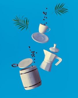 Lévitation tendance grains de café volants, tasse à expresso avec soucoupe et tonneau de rangement en bois avec couvercle