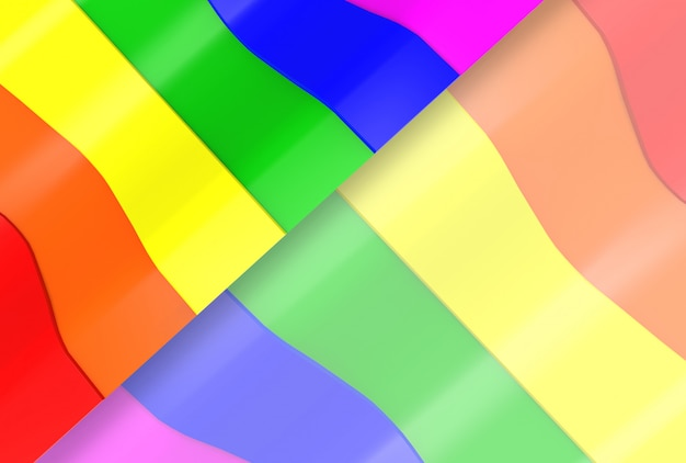 Lgbt arc-en-ciel courbe modèle drapeau mur arrière-plan.