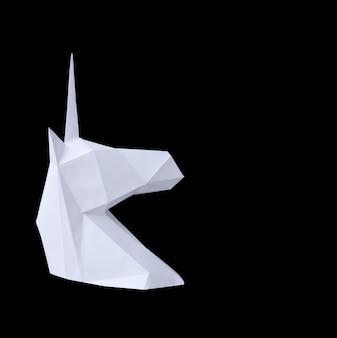 Licorne en papier blanc sur fond noir