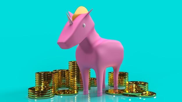 La licorne rose et les pièces d'or pour le rendu 3d de contenu de démarrage d'entreprise.