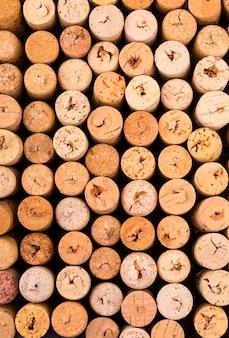 Liège de texture de bouteilles de vin.