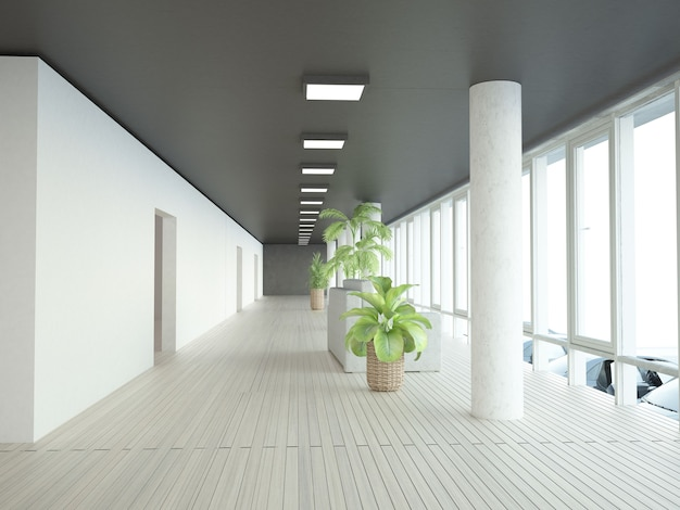 Lieu de détente du couloir presque vide au siège