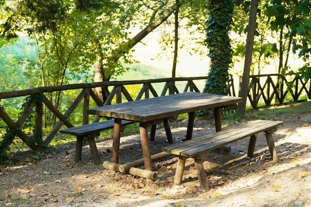 Lieu de pique-nique dans la forêt au bord du lac pertusillo dans le val d'agri, basilicate