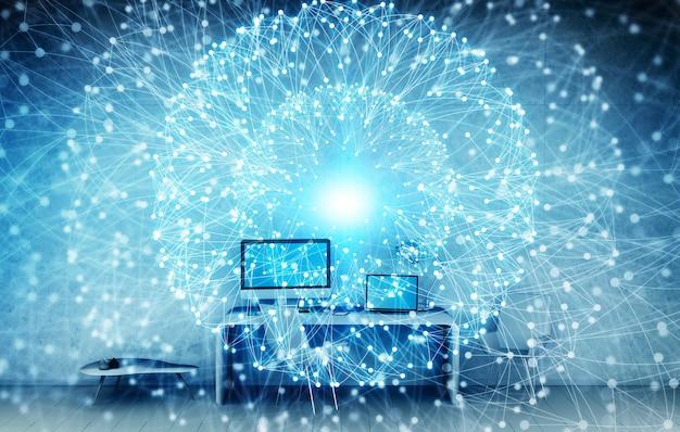 Lieu de travail avec appareils modernes et écrans hologrammes rendu 3d