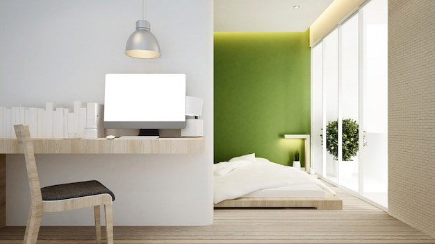 Lieu de travail et chambre sur ton vert.