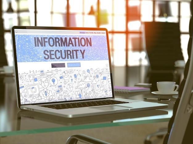 Lieu de travail moderne avec ordinateur portable affichant la page de destination dans le style de conception doodle avec sécurité des informations de texte. image tonique avec mise au point sélective. rendu 3d.