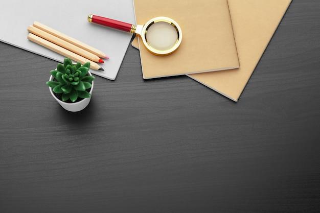 Lieu de travail moderne sur une vue de dessus de table noire