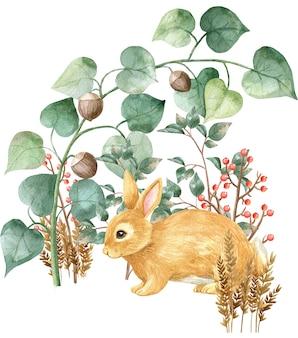 Lièvre woodland histoires aquarelle illustration