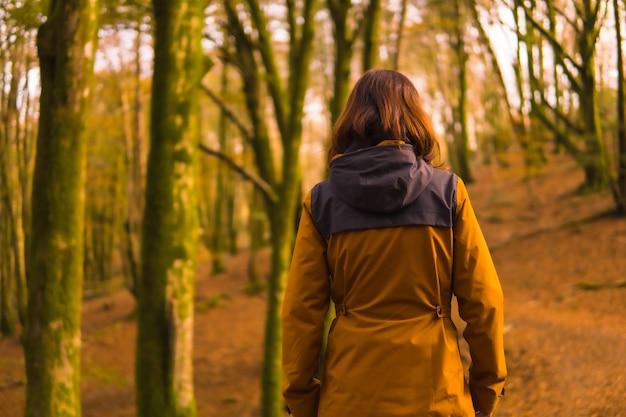 Lifestyle, une jeune femme en veste jaune marchant en arrière le long d'un chemin forestier à l'automne. forêt d'artikutza à san sebastin, gipuzkoa, pays basque. espagne
