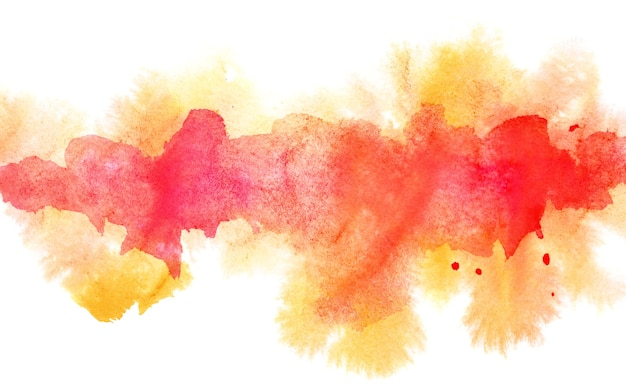 Ligne aquarelle diffluente orange. abstrait texturé. élément vif pour votre conception