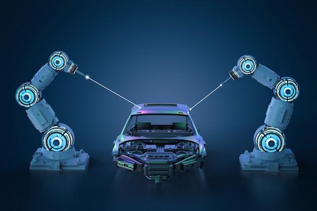 Ligne d'assemblage de robot de rendu 3d dans l'usine automobile sur fond bleu