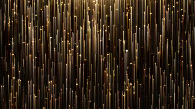 Ligne de brillance or et particules sur fond noir