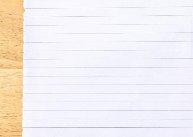 Ligne de cahier blanc fond de papier