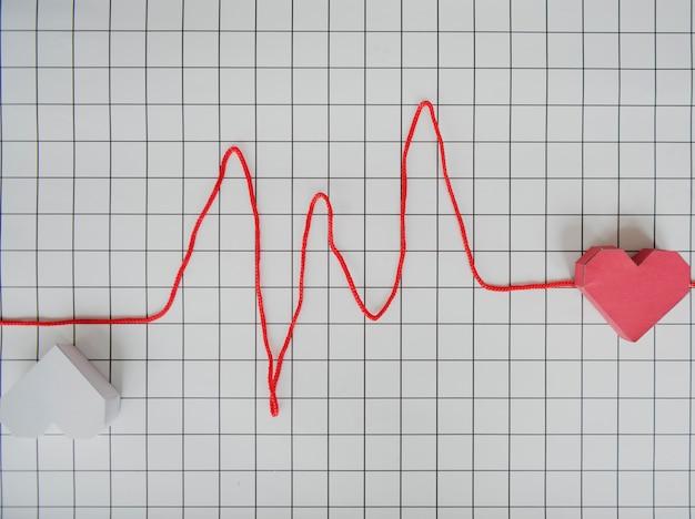 Ligne de coeur cardiogramme graphe en papier