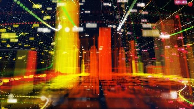 Ligne colorée particule ville connexion réseau futuriste numérique de données. concept technologique.